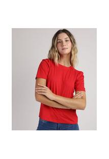 Blusa Feminina Manga Curta Bufante Decote Redondo Vermelha