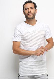 Camiseta Eagle Rock Listrada Poá Masculina - Masculino-Branco