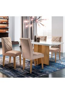 Conjunto De Mesa Com 4 Cadeiras Berlim-Rufato - Animalle Chocolate / Off White / Imbuia