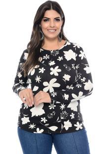 Blusa Marie Plus Size Floral Black