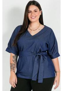 Blusa Plus Size Denimcom Faixa Na Cintura