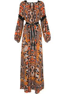 Amanda Wakeley Moth-Print Silk Dress - Marrom