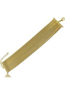 Pulseira Laminada Estilo Bracelete 3Rs Semijoias Dourado