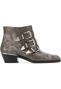 Chloé Ankle Boot 'Susanna' De Couro - Cinza