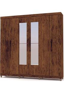 Guarda-Roupa Casal Palmas Imbuia Rústico 6 Portas 3 Gavetas Interior E Espelho - Vila Rica