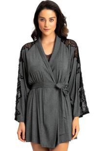 Robe Recco Visco Light C/ Renda Cinza - Tricae