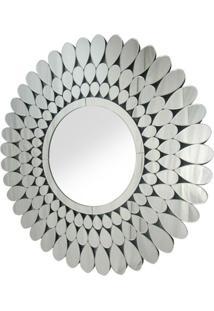 Espelho Veneziano Redondo Petalas Cor Prata - 35452 - Sun House