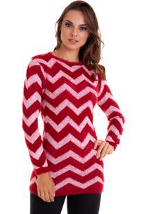Suéter Kinara Listras Zigzag Pelinho Vermelha