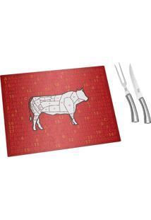 Conjunto Para Churrasco Com Tábua De Vidro 3 Peças - Carnes - Euro Home - Vermelho
