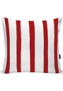 Capa Para Almofada Stripes- Branca & Vermelha- 45X45Stm Home