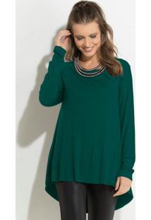 Blusa Verde Modelo Mullet Com Mangas Longas