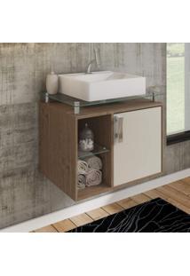 Gabinete De Banheiro 1 Cuba Sobreposta Em Base De Vidro Porto Mgm Móveis Amêndoa/Off White