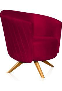 Poltrona Decorativa Angel Gomada Suede Vermelho Com Base Giratória Madeira D'Rossi Vermelho