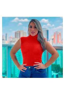 Blusa Tricot Gola Alta Sem Manga Fashion Vermelho