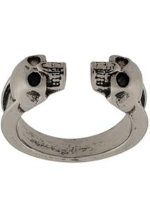 Alexander Mcqueen Double Skull Ring - Prateado