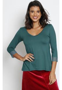 Blusa Lisa Com Tule Bordado- Verde- Thiptonthipton