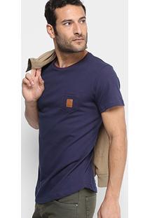 Camiseta Rg 518 Bicolor Bolso Patch Couro Masculina - Masculino-Marinho