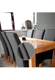 Kit Jogo 6 Capas Para Cadeira Universal Com Malha De Gel Cinza Macio Anti Suor Casa Dona