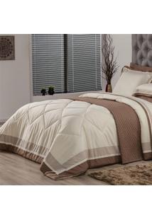 Edredom Queen Plumasul Soft Comfort 240X260Cm Microfibra Bege