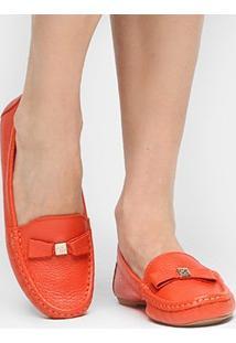 Mocassim Couro Shoestock Floater Monograma Feminino - Feminino