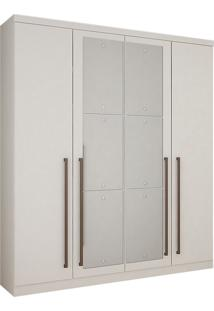 Guarda-Roupa Solteiro Com Espelho 4 Portas Hannover-Novo Horizonte - Branco