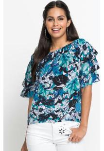 Blusa Ombro A Ombro Com Babados Floral Azul