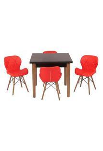Conjunto Mesa De Jantar Luiza 80Cm Preta Com 4 Cadeiras Slim - Vermelho