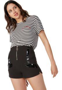 Shorts De Cintura Alta Zíper