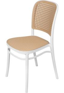 Cadeira Lauren Em Polipropileno Branco E Palha - 61959 - Sun House