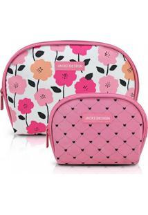 Kit De Necessaire De 2 Peças Meia Lua Jacki Design Pink Lover Rosa