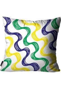 Capa Para Almofada Mdecore Abstrato Brasil Colorida 45X45Cm