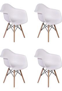 Cadeira E Banco De Jantar Impã©Rio Brazil Charles Eames Wood Daw - Branco/Incolor - Dafiti