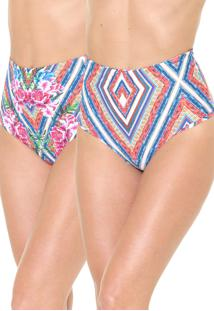 Calcinha Blue Man Hot Pant Dupla Face Bela Flor Rosa/Azul
