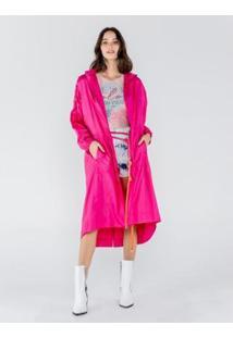 Casacos Capa De Nylon Com Adesivo Feminino - Feminino-Pink