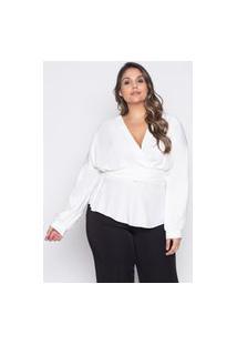 Blusa Almaria Plus Size Pianeta Transpassada Off-White