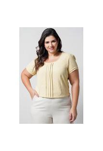 Blusa Texturizada Almaria Plus Size New Umbi Pregas Frontais Amarelo