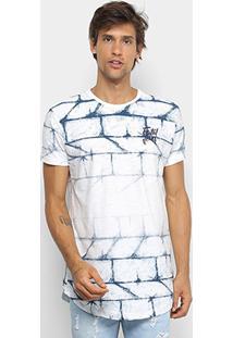 Camiseta Alongada Fatal Estampada Masculina - Masculino-Branco