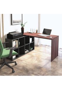Mesa Escrivaninha Canto Artany Nero Home Office 8 Nichos Ipê/Preto