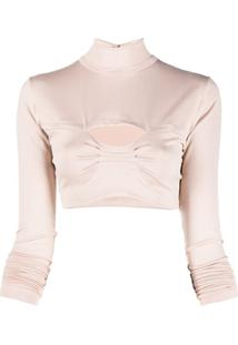 Atu Body Couture Blusa Cropped Gola Alta - Neutro