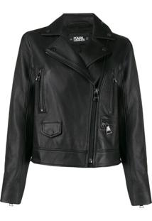 Karl Lagerfeld Ikonik Leather Biker Jacket - Preto