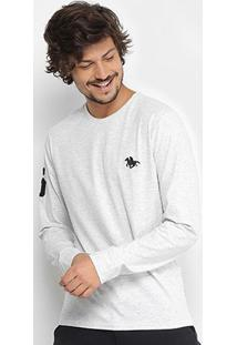 Camiseta Rg 518 Básica Manga Longa Com Bordado Masculina - Masculino-Off White