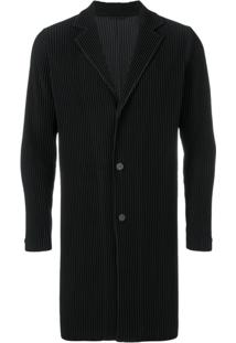 Homme Plissé Issey Miyake Ribbed Fitted Coat - Preto