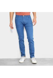 Calça Jeans Slim Preston Lavagem Clássica Masculina - Masculino-Azul