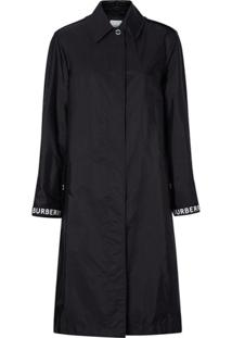 Burberry Trench Coat Com Logo - Preto
