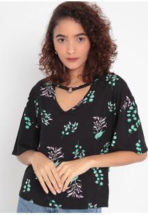 Blusa Com Vazados- Preta & Verde Água- Malweemalwee