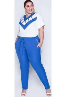 Conjunto Plus Size Detalhe Decote Off White Azul Branco