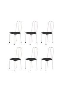 Kit 6 Cadeiras Baixas 0.101 Assento Reto Branco/Preto - Marcheli