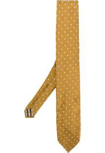 Lardini Gravata Slim De Seda Com Padronagem - Amarelo E Laranja