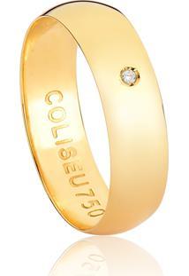 Aliança De Ouro 18K Slim Polida Com Um Diamante-Alianças Exclusivas Coliseu
