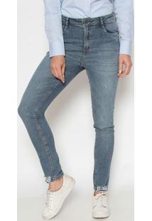 Jeans Cigarrete Demi Curve Com Destroyed - Azuldudalina